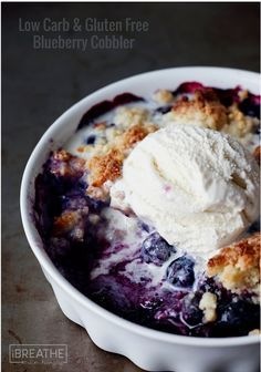 This easy low carb and gluten free blueberry cobbler has all the flavors of summer packed into it for less than 100 calories per serving!