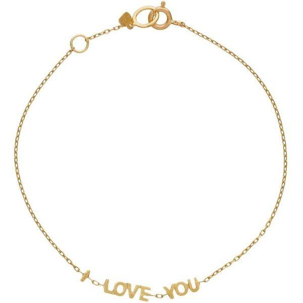 Suel I Love You Bracelet ($390) ❤ liked on Polyvore featuring jewelry, bracelets, gold bracelet bangle, 14 karat gold jewelry, gold bracelet, 14k gold jewelry and 14k gold bracelet