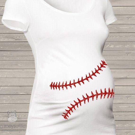 Sparkly baseball maternity shirt glitter belly by zoeysattic