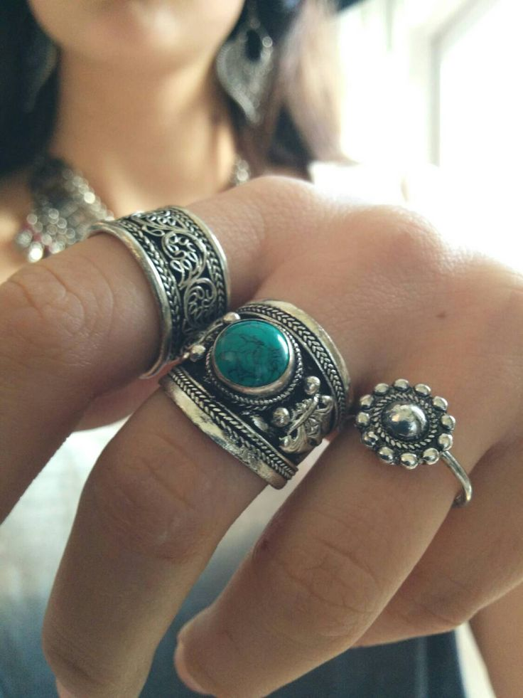 Gypsy Turquoise ring - Boho tibetan silver amulet ring with gemstone - Boho chic Ethnic jewelry - Tribal Statement Ring - Nepali Gypsy Ring by Meebird on Etsy https://www.etsy.com/listing/206525816/gypsy-turquoise-ring-boho-tibetan-silver