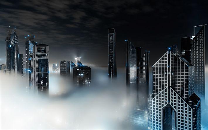 Download wallpapers UAE, Dubai, skyscrapers, fog, nightscapes, modern buildings, United Arab Emirates