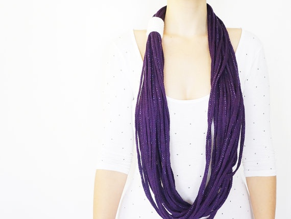 SCARF // FREE SHIPPING // Purple Handmade Infinity by Sudrishta, $25.00