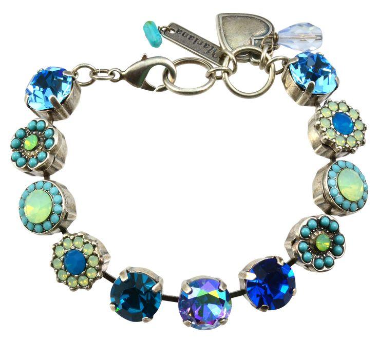 "Blue Lagoon"" Silver Plated Flower Swarovski Crystal Tennis Bracelet, 8"