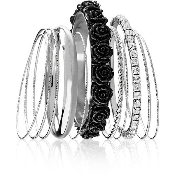 Avenue Floral Bangle Set ($16) ❤ liked on Polyvore featuring jewelry, bracelets, accessories, pulseiras, black, plus size, artificial jewellery, bangle set, rhinestone bangles and bangle bracelet
