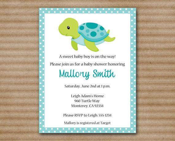 Baby Boy Shower Invitations Turtle Diabetesmangfo