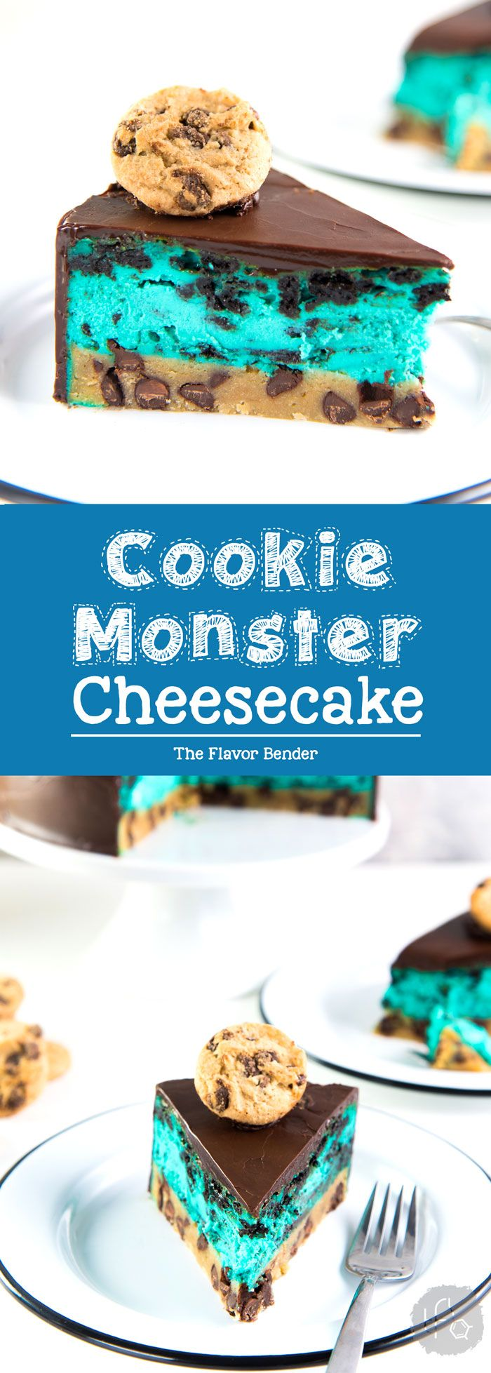 Cookie Monster Cheesecake - A fudgy chewy chocolate chip cookie blondie, topped with a creamy cookie and cream cheesecake loaded with Oreos and coated with a layer of chocolate ganache. Perfect dessert for cookie lovers. From the Secret Layer Cakes cookbook. #Cheesecake #SecretLayerCakes #CookiesandCream #Blondie via @theflavorbender