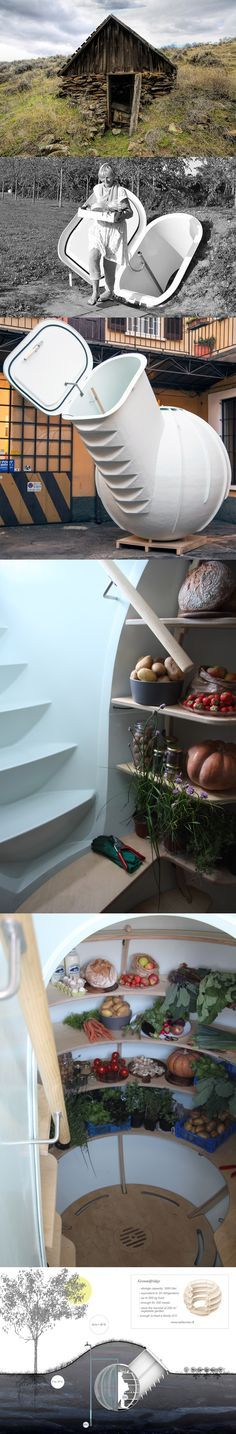 Groundfridge is an innovative take on the traditional root cellar. It meets the requirements of people with their own vegetable garden, who choose to live in a modern and self-sustaining way.