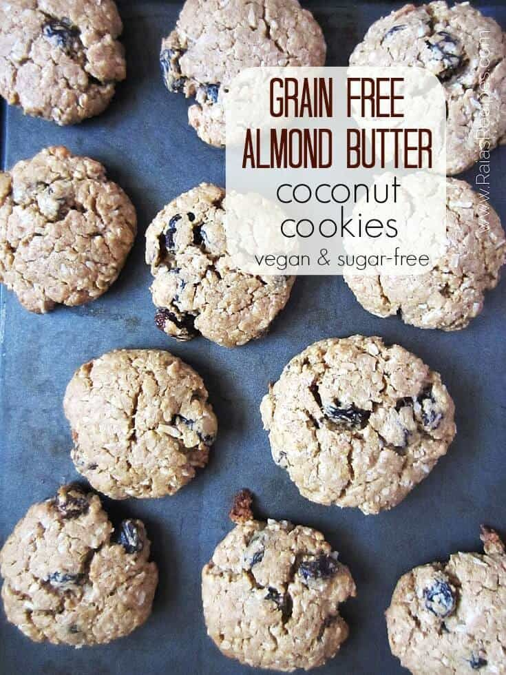 Grain-Free Almond Butter Coconut Cookies – vegan, paleo, and sugar free