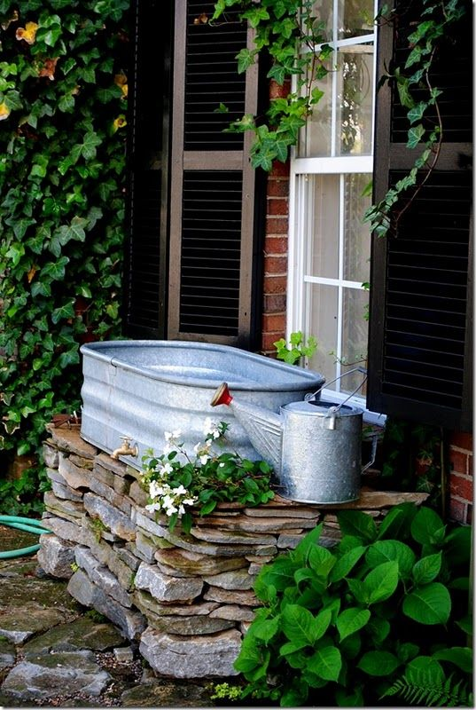 Outdoor Farm Sink : Outdoor sink, flower bed, raised garden----- Check The Salvage Store ...