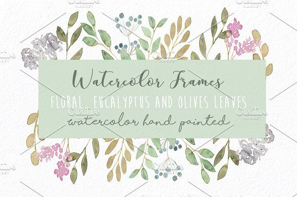 Watercolor Frames Clip Art Set - Floral, sweet leaves and eucalyptus leaves Frames painted in original watercolor by MARAQUELA.
