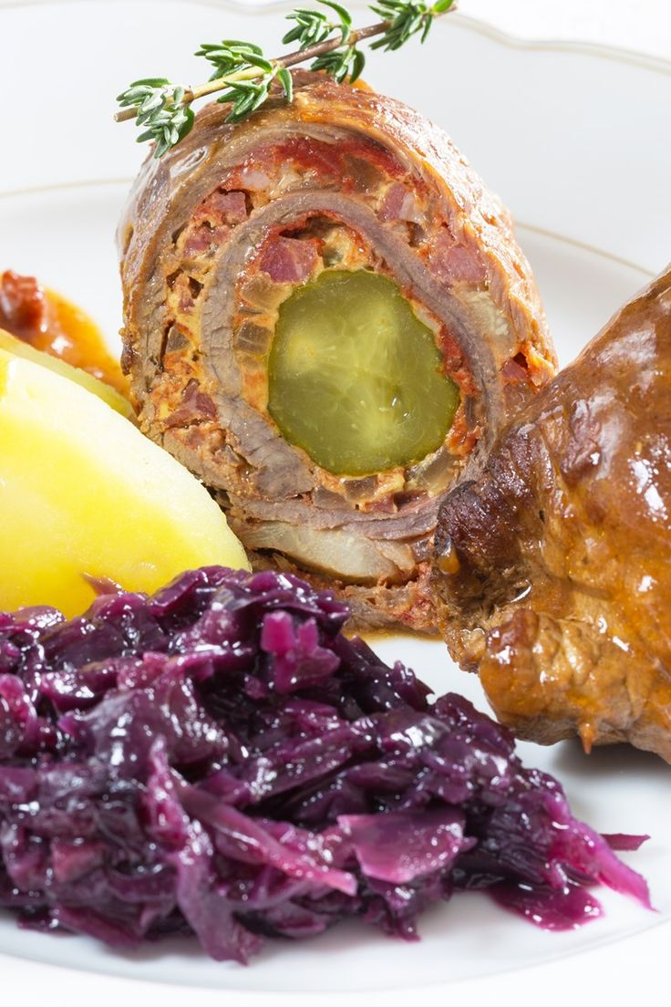 German Beef Rouladen with Bacon, Onions, and Pickles Recipe