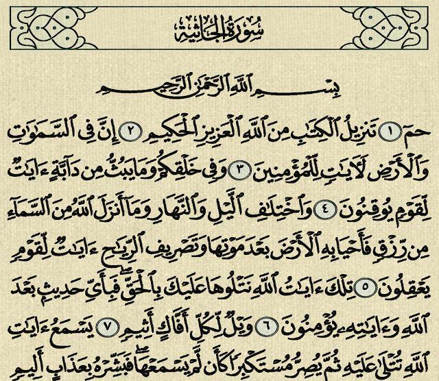 شرح وتفسير سورة الجاثية Surah Al Jathiya Arabic Calligraphy Calligraphy