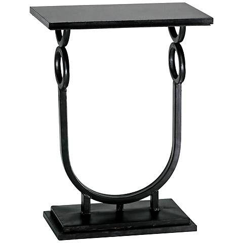 Rope Granite and Ebony Metal Side Table - #3R521 | Lamps Plus