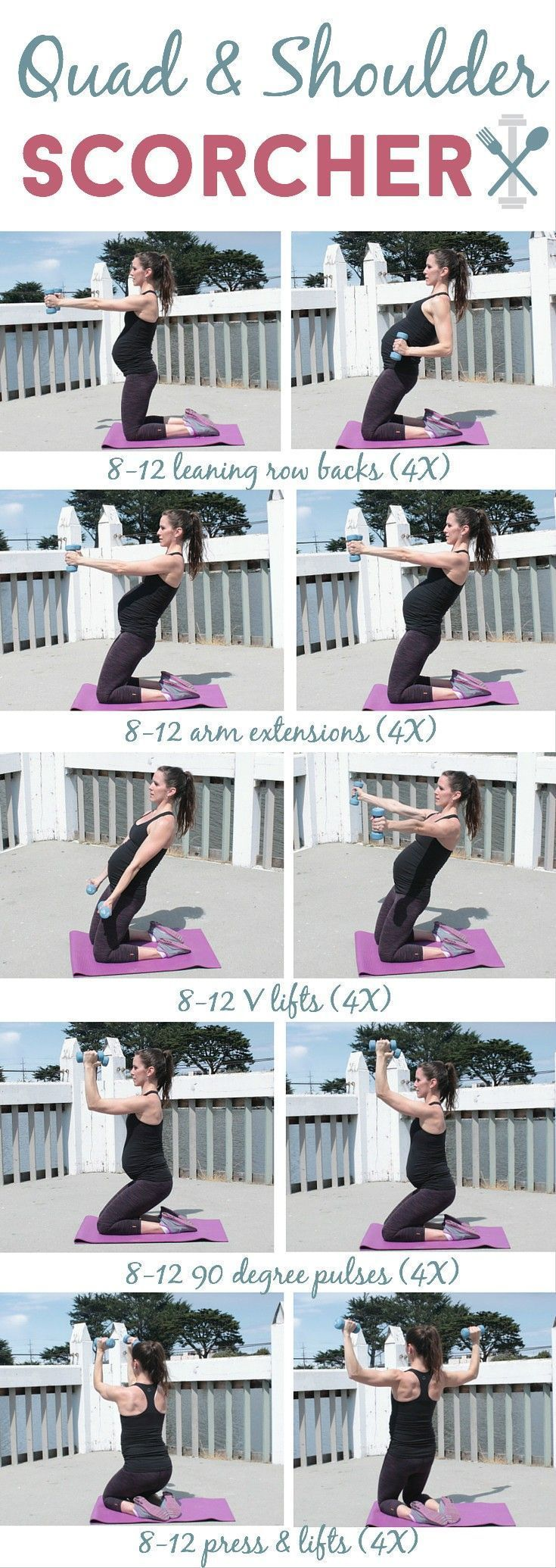 This low-impact workout will target your thighs (quads) and shoulders like NO OTHER! Plus you can do it anywhere. Great for a prenatal workout too. #pregnancy&prenatalworkouts&exercises