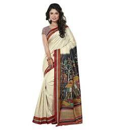 Buy Cute Cream Colored Printed Art Silk Saree art-silk-saree online