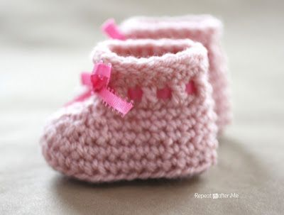 crochet baby bootie patterns for beginners | or a long crochet chain weave in and out of the double crochet ...