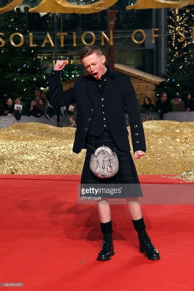 Here's John Bell, who will play Young Ian, wearing a Kilt!