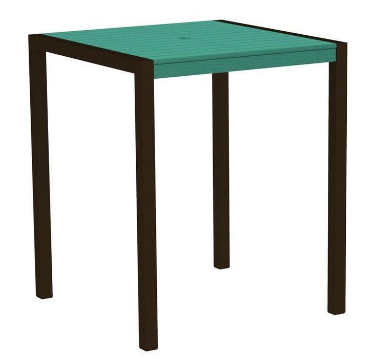 """Polywood 8102-16AR MOD 36"""" Bar Table in Textured Bronze Aluminum Frame / Aruba"""