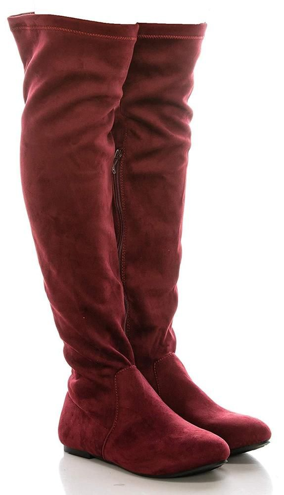 0f487d9171626 CALICO KIKI Over The Knee Boots High Low Heel - Faux Suede Side Zip ...