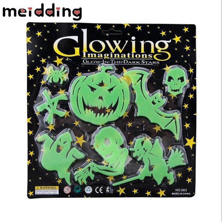 MEIDDING 8pcs Halloween Pumpkin Skull Green Stickers Bats Glow Wall Decor Sticker Home Window Decor Halloween Party Supplies #Affiliate