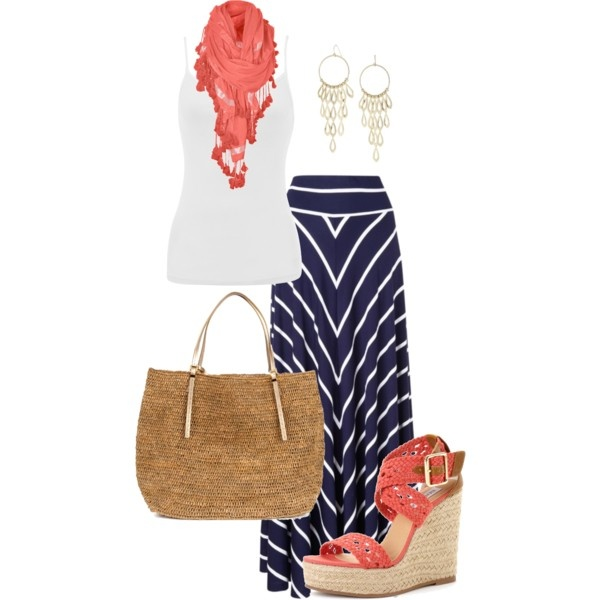 Coral and Navy outfit - great skirt ...  created by thelifeoftheparty on Polyvore... Looove this!