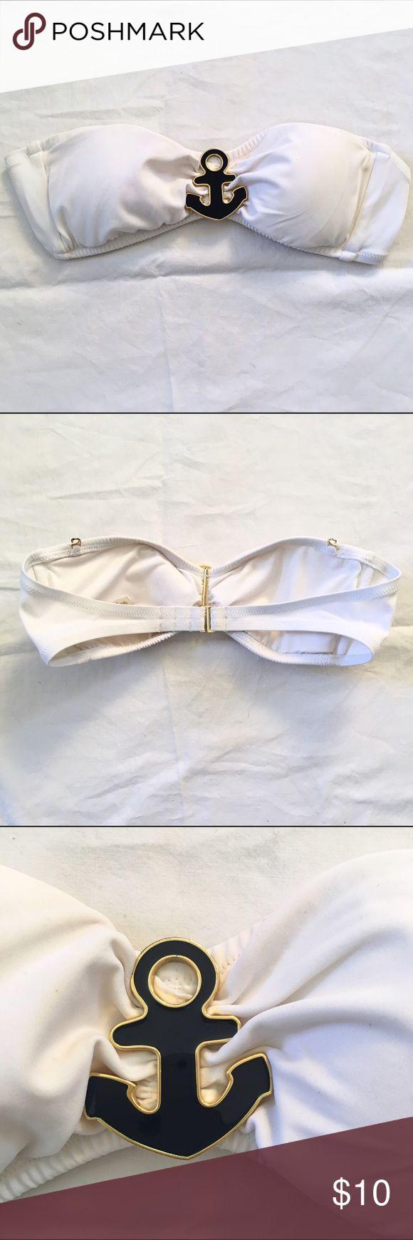 Bandeau bikini top Bandeau bikini top with navy enamel anchor trim at front Swim Bikinis