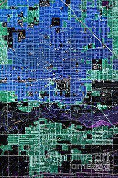 Pablo Franchi - Phoenix Arizona Old Blue and Green map 1952