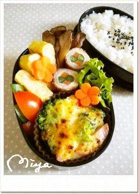 お弁当♢魚肉ソーセージの味噌マヨグラタン