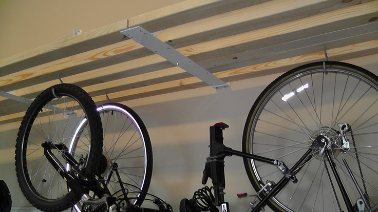 Rhino Shelf allows users to use inexpensive hooks to hang bicycles and lots of other stuff.
