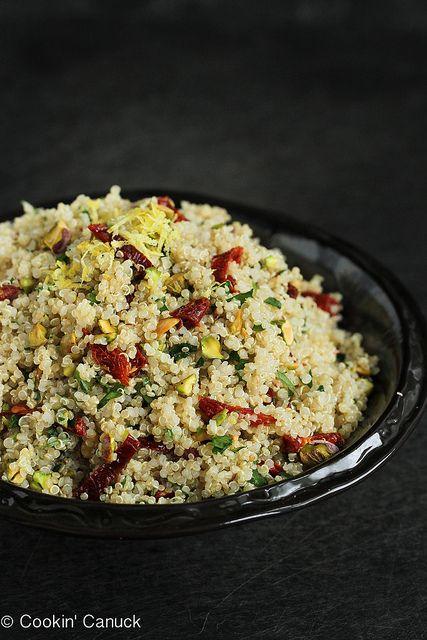 Lemon Quinoa Salad with Pistachios & Sun-Dried Tomatoes   cookincanuck.com #quinoa #vegetarian