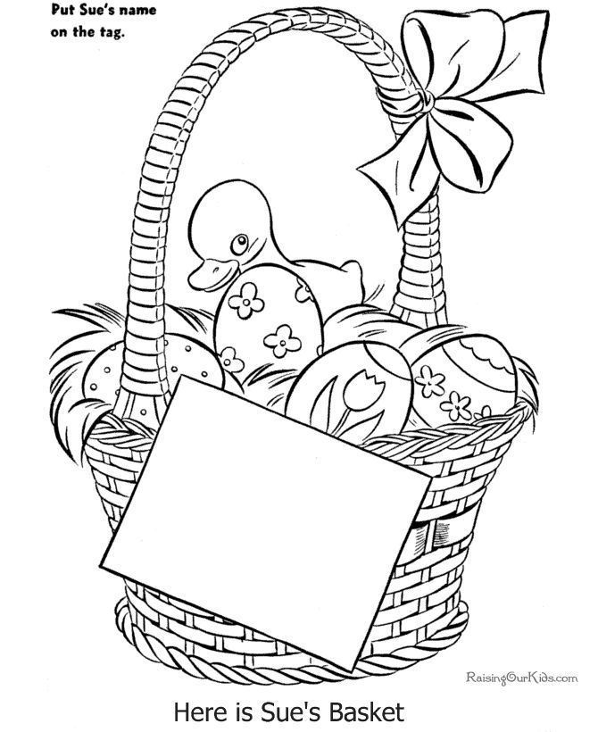 Free Easter basket coloring page | Coloring Pages | Pinterest ...