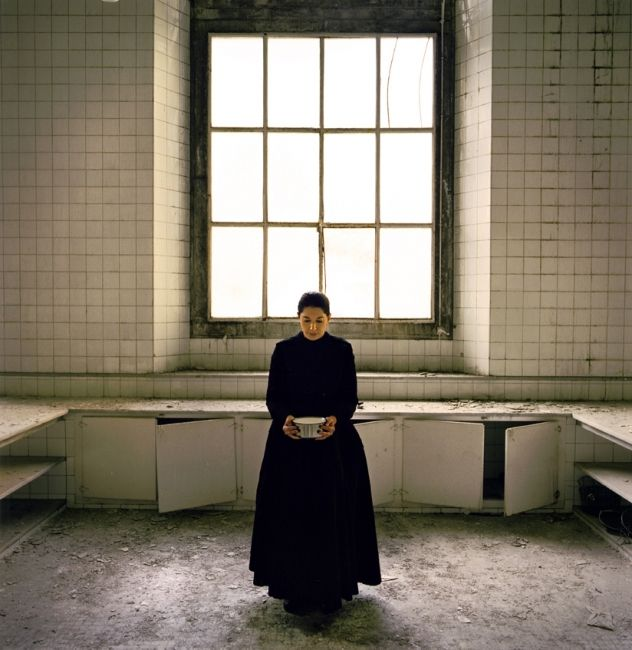 """MARINA ABRAMOVIC  THE KITCHEN V Carrying Milk, 2009  Single screen, color, sound. 12' 43""""  Edition of 5"""