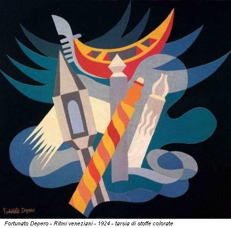 Fortunato Depero - Ritmi veneziani - 1924 - tarsia di stoffe colorate