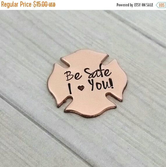 Personalized copper Maltese cross pocket coin - Hand Stamped Pocket Coin - Pocket Token - firefighters gift