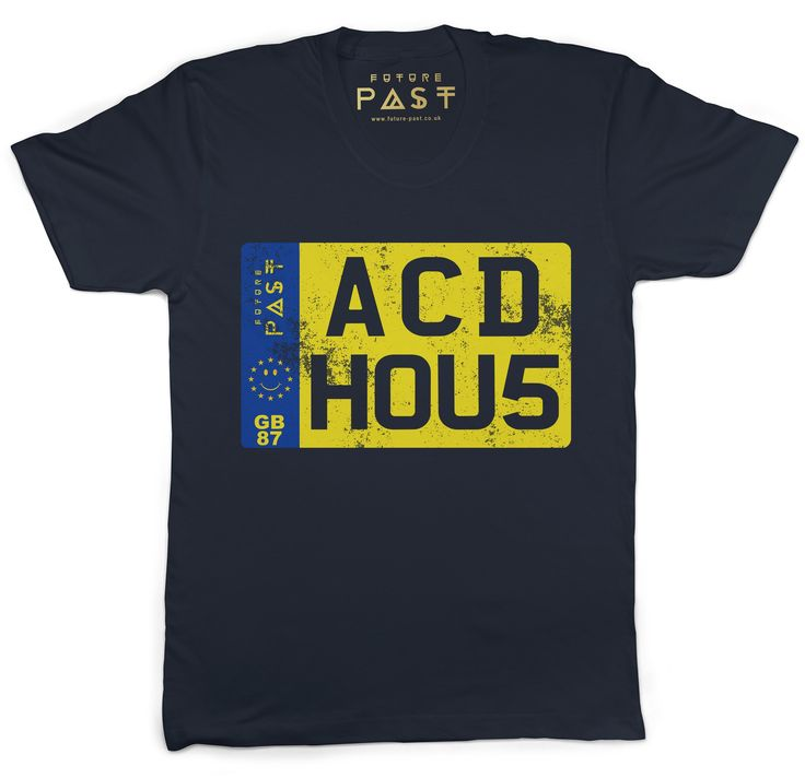Premium Future Past Clothing Acid House Private Vehicle Reg Plate T-Shirt / Navy for only £24.97  Ok, I'm not a massive fan of private reg plates unless it's something that really means something to you. So this clearly does otherwise we wouldn't have designed it, as a result this is one I would have no shame in at all in attaching to my car.This tee is dedicated to the growing younger and the older veteran fans of the euphoria of how electronic beats, whichever your persuasion, but clearly…