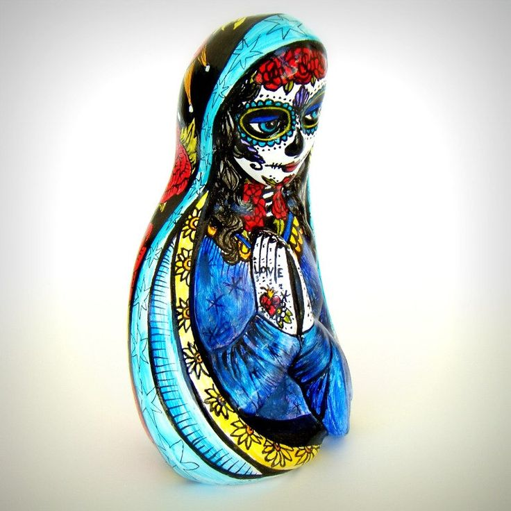 Day of the Dead Madonna Praying Mary Sugar Skull Ceramic Statue Hand Painted Tattoo Dia de los Muertos Stars Hearts Red Roses by sewZinski on Etsy https://www.etsy.com/listing/155995039/day-of-the-dead-madonna-praying-mary