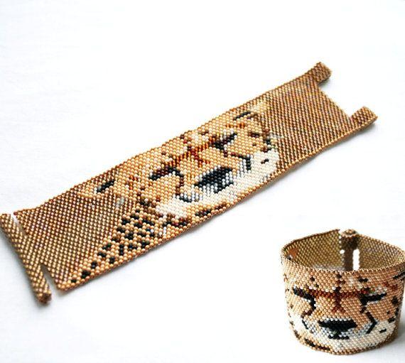 leopard bracelt animal bracelet peyote bracelet by koralikowyraj,#bracelet, #beadedbracelet