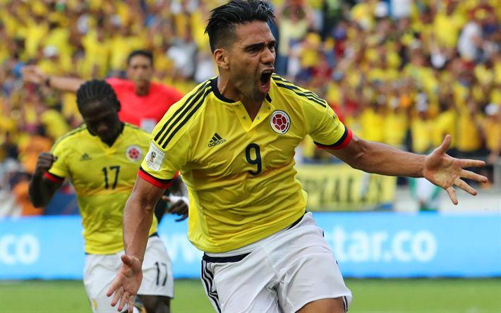 Descargar fondos de pantalla Radamel Falcao, 4k, el objetivo, el Colombiano del Equipo Nacional, futbolistas, el fútbol