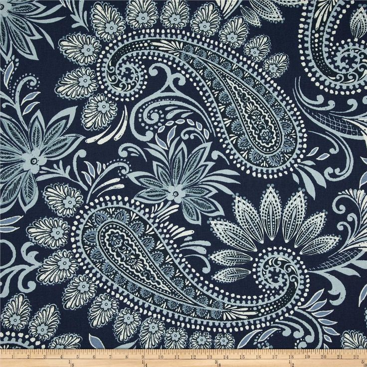 Richloom Navodari Paisley Denim Blue from @fabricdotcom  Screen printed on cotton duck; this versatile, medium weight fabric is perfect for window accents (draperies, valances, curtains and swags), accent pillows, bed skirts, duvet covers, slipcovers, upholstery and other home decor accents. Create handbags, tote bags, aprons and more. Colors include white, light blue and navy.