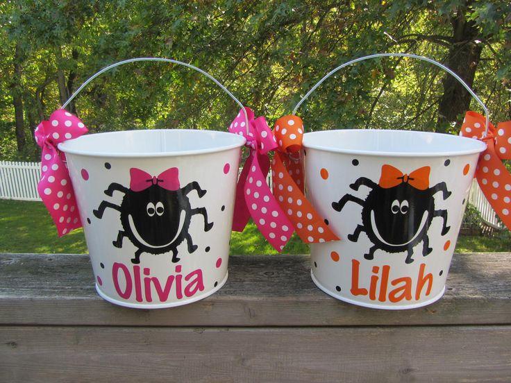 Halloween bucket: Personalized Halloween bucket pail - girly spider design - trick or treat. $20.00, via Etsy.
