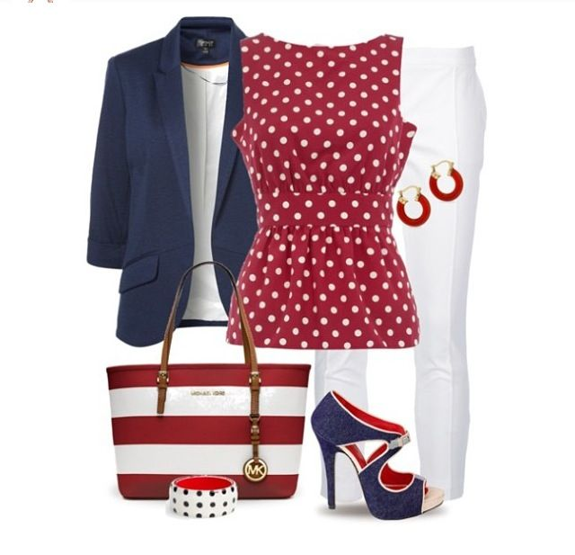 Patriotic outfit.  Love the shoes!