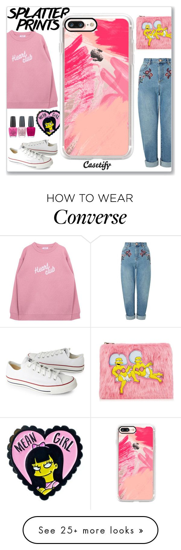 """""""Life is better in PINK """" by casetify on Polyvore featuring Casetify, Miss Selfridge, OPI and Converse"""