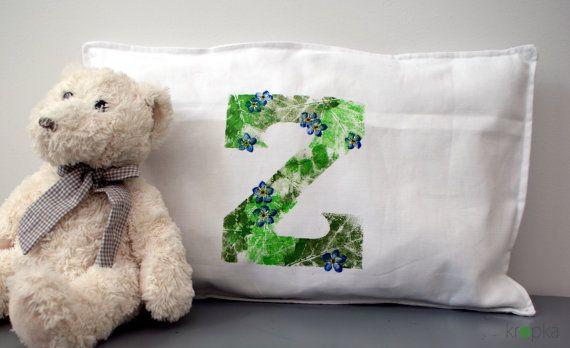Monogram pillow Handpainted throw pillows by KropkaDesign on Etsy