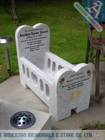 A Beautiful Baby Cradle is used as the Headstone for this very much loved Baby.
