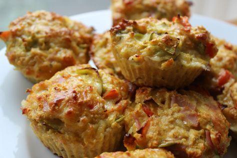 Matmuffins med ost, skinke og avocado. 177kcal pr stk
