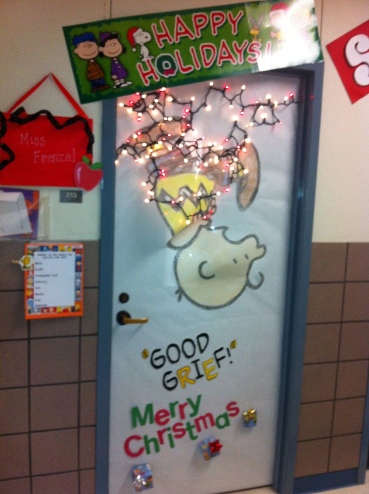 Christmas Classroom Door... Poor Charlie Brown had some trouble hanging the Christmas lights.