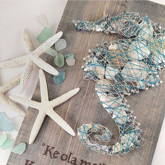 STRING ART - ONLY $44 and has 136 Nails!!!!! Sea horse nail and string art with sea shells. Unique beach art. Modern art. Sea shell bathroom decor. Nautical decor.