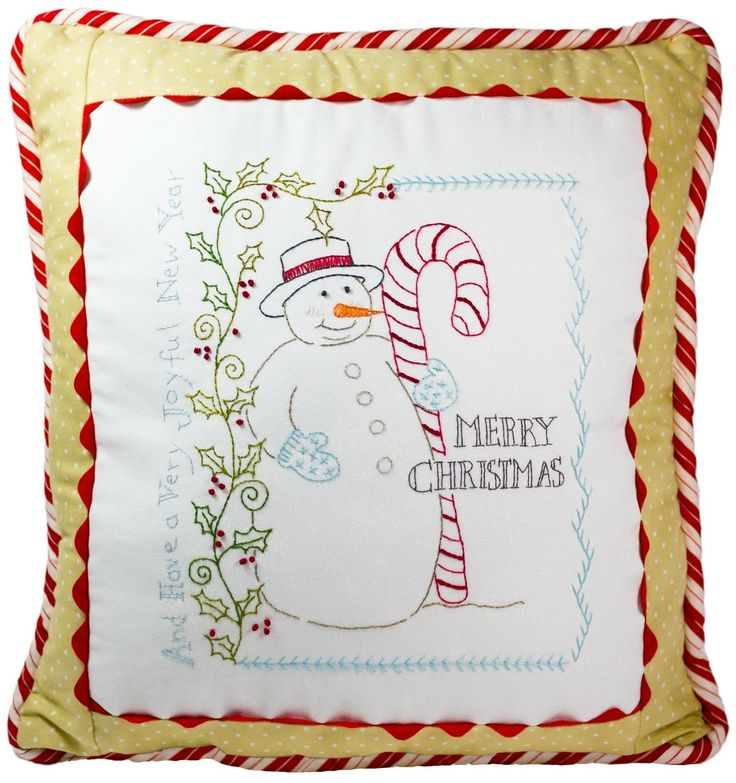 Hand embroidery pattern vintage candy cane snowman
