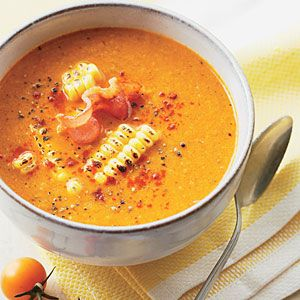 Roasted Tomato and Corn Soup- sounds labor intensive, but delicious... Maybe I'll feel ambitious one weekend