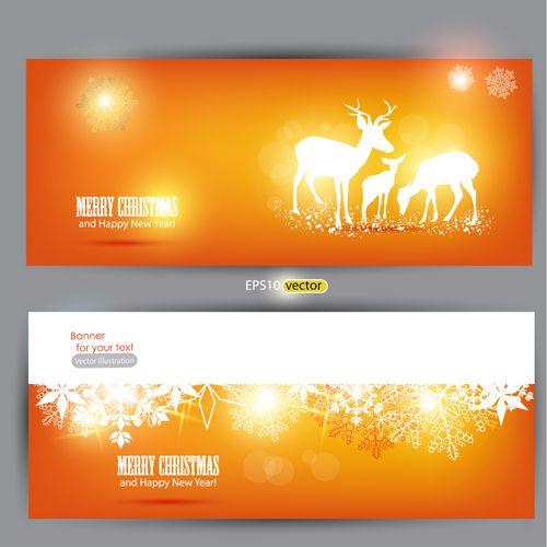 Orange Xmas banner vector 02